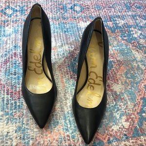 Sam Edelman Hazel Pointed Toe Black Leather Pumps